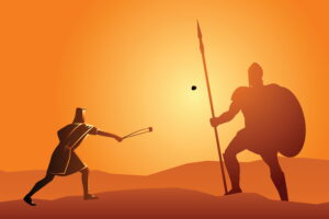 Online marketing tactic concept David & Goliath